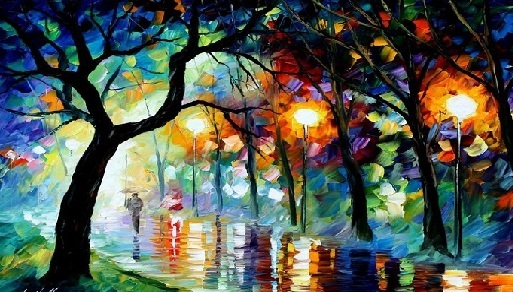 Preciosa imagen de árboles de colores y reflejos de lluvia